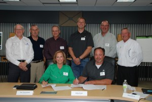 Pictured…Front row; Sue Tronchetti, Paton-area farmer and West Central Board Chair; John Scott, Odebolt-area farmer and FC Board President. Back row: Milan Kucerak, West Central President and Chief Executive Officer; Jim Carlson, Gowrie-area farmer and West Central Vice Chairman; Sam Spellman, Woodward-area farmer and West Central Board Secretary; Jordan Carstens, Bagley-area farmer and FC Board Vice President; Dan Reynolds, Rockwell City-area farmer and FC Board Secretary; and Jim Chism, FC Chief Executive Officer.