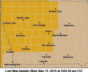 High Wind Warning for counties in gold, Wind Advisory for counties in brown