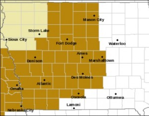 Counties shaded in brown are included in the High Wind Watch