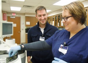 CCHS employees Mitch Whiley, MLS (ASCP) and Chelsea Johnson, MLT are shown working together in the laboratory. The CCHS Foundation 2016 Campaign funds will go towards the purchase of new equipment for the department.