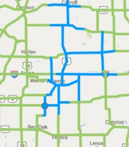 Roads in blue are partially covered in snow and slush. Bridges and overpasses may be icy. (Image as of 2:30-p.m. 12/23)