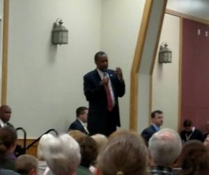 Republican Ben Carson at the Cass County Community Center in Atlantic (Ric Hanson/photo)