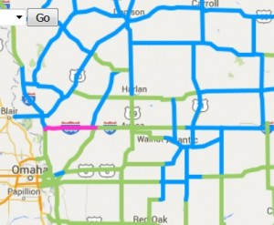 Roads in pink are completely covered in snow, ice or slush. Roads in blue are partially covered.