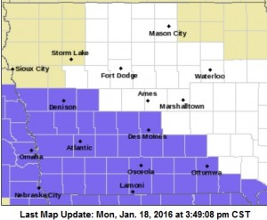 Winter Weather Advisory for counties shaded in purple
