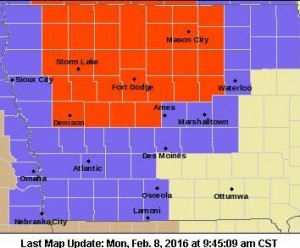 Blizzard Warning for counties in red. Winter Weather and/or Wind Advisories for counties in lavender.