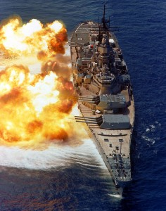 USS Iowa in action, 1984. (Wikipedia image)
