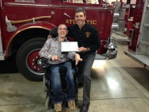 """Max Petersen received an award for """"2015 Honorary Atlantic Firefighter."""""""