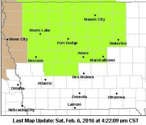 Blizzard Watch Sunday afternoon thru Monday for Counties in lime green.