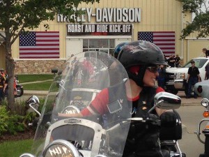 "Sen. Joni Ernst on last year's ""Roast and Ride.""  (pic from Radio Iowa)"