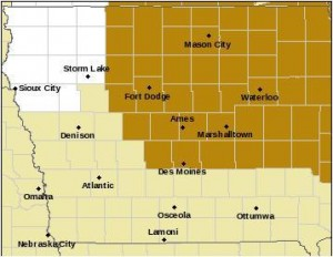 High Wind Watch for counties shaded in brownish-gold