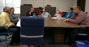 Griswold School Board, from left to right: Steve Baier, Erika Kirchhoff, Scott Hansen, Scott Peterson, Heather Pelzer, Board Secretary Nancy Taylor, Superintendent Dana Kunze.