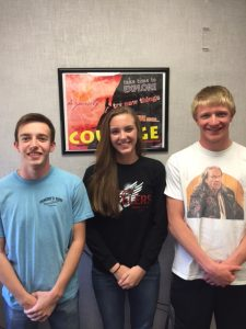 Joseph Remsburg, Madison Hagedorn, and Mitchell Nelsen
