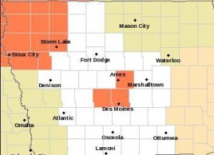 Heat Advisory (counties in Orange) until 9-p.m. Saturday for n.w. IA, & until 7-p.m. Sunday for parts of central IA
