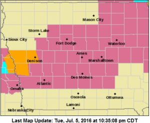 Severe Thunderstorm Watch for Counties in lavender.