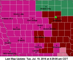 Counties in pink/lavender will be under an Excessive Heat Warning; Counties in deep red will be in an Excessive Heat Watch.