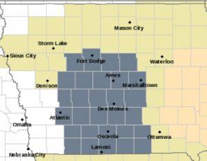 Dense Fog Advisory for counties in gray.