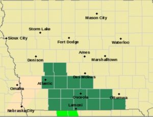 Flash Flood Watch for counties shaded in green