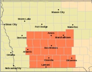 HEAT ADVISORY for counties in orange.
