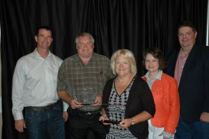 Pictured from left to right Tony Toigo, Iowa Department of Agriculture and Land Stewardship; Alan Peterson, Outstanding Landowner Awardee; Debbie Pellet, First Whitney Bank & Trust; Jane Larson, Iowa Finance Authority; Dave York, Cass County Soil and Water Conservation District. (IFA supplied photo)