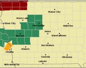 Flash Flood Watch for Counties in green
