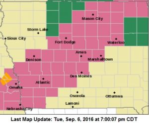 Severe Thunderstorm Watch until 2-am for Counties in mauve