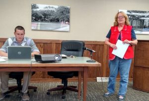 Deb Smith presents her proposal to the Parks & Rec Board. (Director Seth Staashelm is on the left)