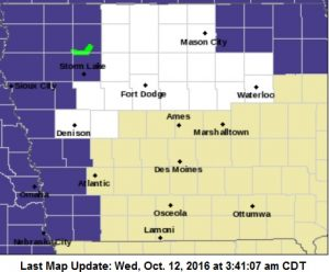 Freeze Warning for Counties in purple, Thursday