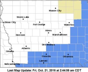 Frost Advisory for counties in light blue